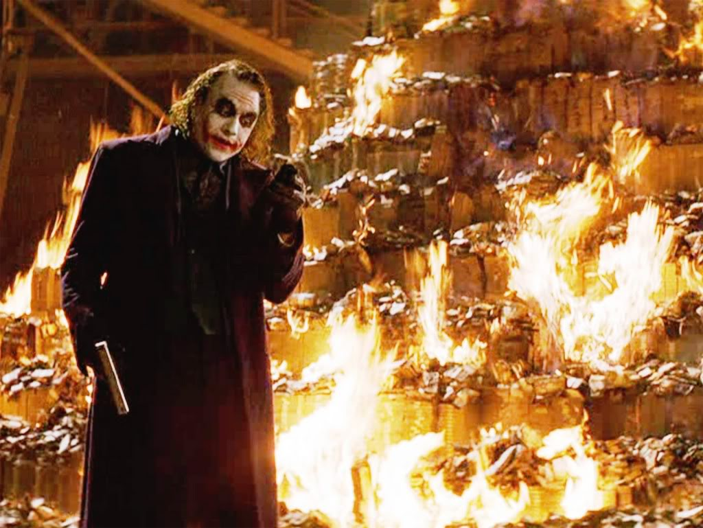 Image result for the joker burning money